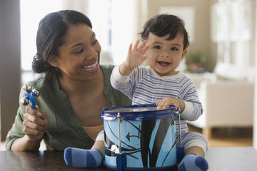 Activities for 1 year olds mother and baby boy making music solutioingenieria Choice Image