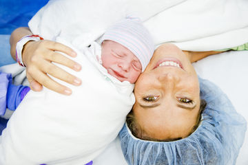 Cesarean Section C-Section Birth Mother and Newborn