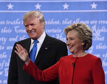 Donald Trump And Hillary Clinton Waving