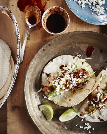 Fish Tacos With Chunky Guacamole and Chipotle Syrup