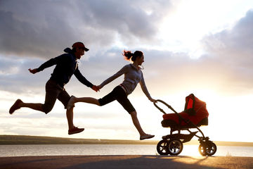Mom and Dad Jogging with Stroller