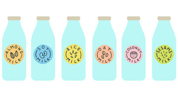 Alternative Milk Bottles Illustration