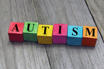 Autism spelled out in colorful blocks