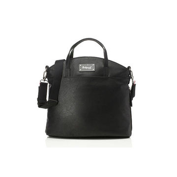 Black faux leather diaper bag
