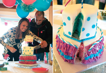 Cake layer gender reveal idea for expectant couples.