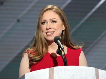 Chelsea Clinton Red Dress Speaking