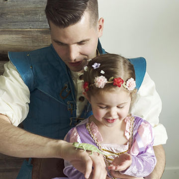Claire Ryann and Dad as Rapunzel and Flynn Rider