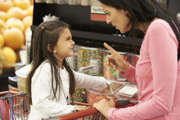 Discipline Mistakes Mother Points Finger At Daughter In Grocery Story
