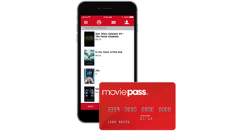 Smartphone and MoviePass credit card