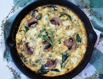 Spinach Mushroom and Goat Cheese Frittata