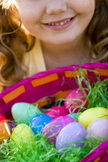 Easter Basket Filled With Plastic Eggs