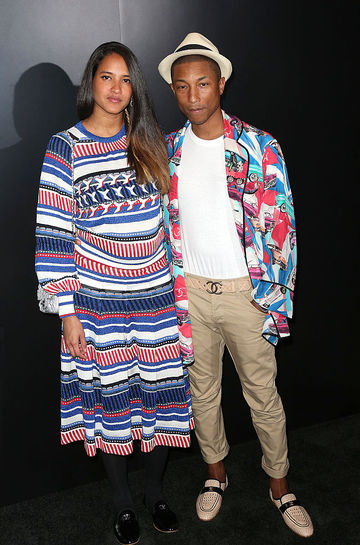 Pharrell Williams and Helen Lasichanh Pregnant Striped Dress