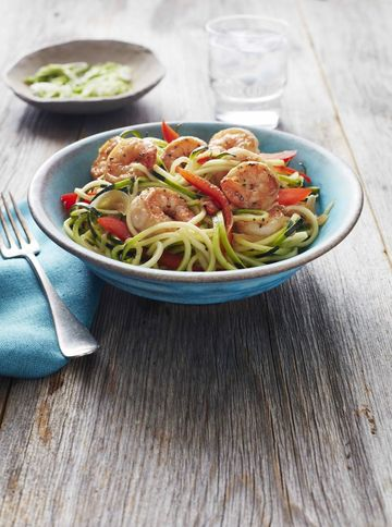 Whole30 Ginger Shrimp and Zucchini Noodle Stir-Fry