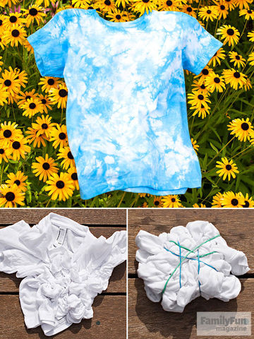 Blue tie-dyed t-shirt atop bed of black-eyed Susans