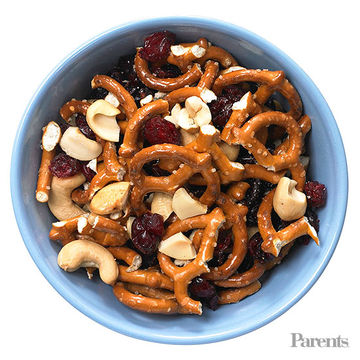 Mini preztels twists, cashews, dried crenberries