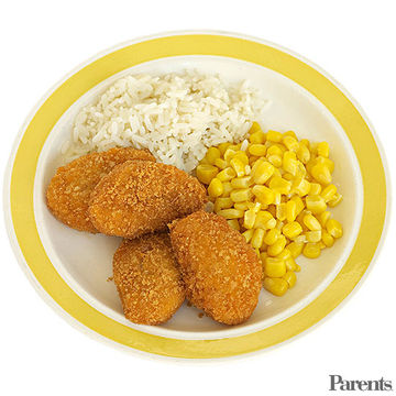 Chicken Nuggets, Rice, and Corn