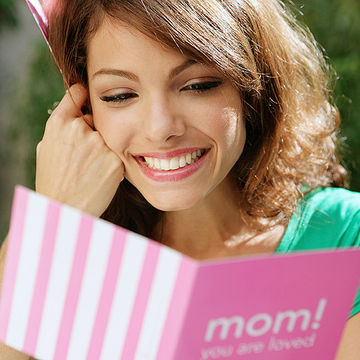 mother reading card