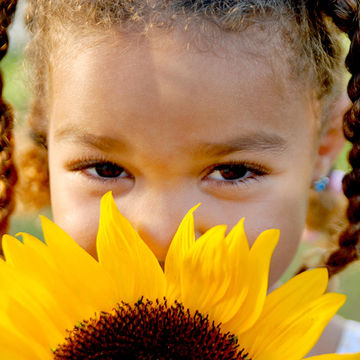 Child holding sunflower