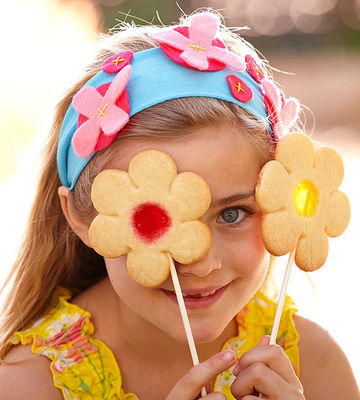 Girl with flower cookies