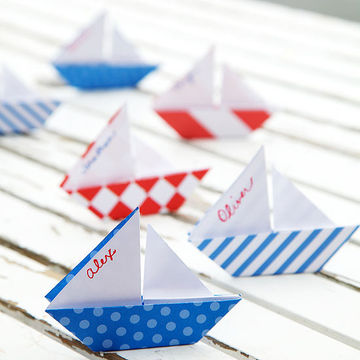 Origami sailboat placecards