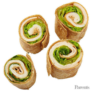 Turkey, lettuce, and Dijon mustard pinwheels