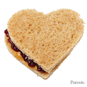 PB&J heart shaped sandwich