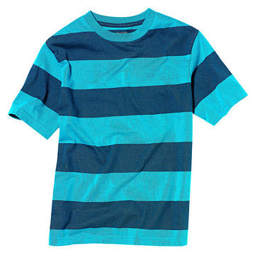 Blue Wide-Striped Tee