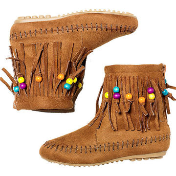 Fringe Zip-Back Booties