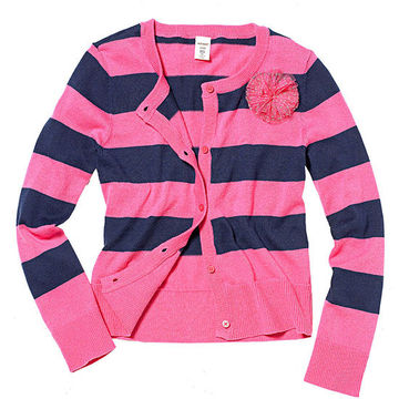 Striped Rosette Cardigan