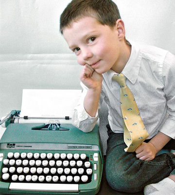 Daniel with vintage typewriter