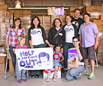 Lisa Truong, third from left, and HAMO volunteers at a diaper-distribution event in San Francisco