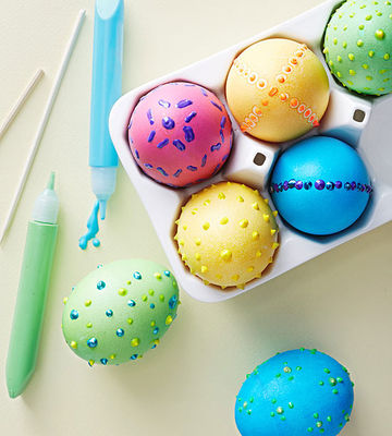 Fabric paint polka-dot eggs