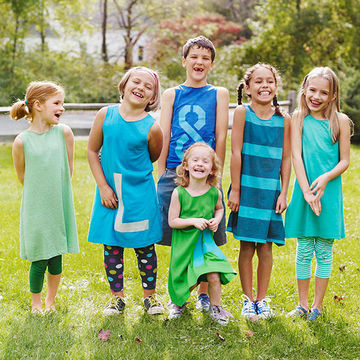 kids wearing handmade t-shirt dresses
