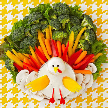 Turkey-shaped veggie platter