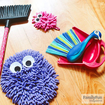 Broom, dusters with felt eyes, and peacock dust broom with dustpan