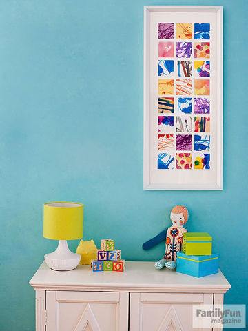 Collage picture on wall with dresser