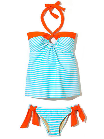 ocean-hued stripe tankini from Maternal America