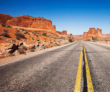 Road and scenic mountains