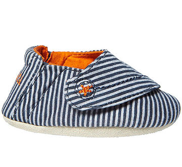 Blue/ orange striped baby shoe