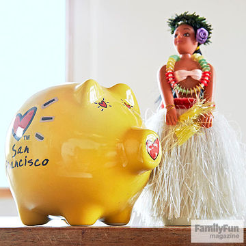 Hula girl statue and piggy bank