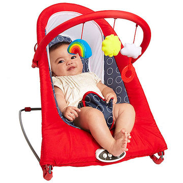 Red Baby Bouncer with baby demonstrating