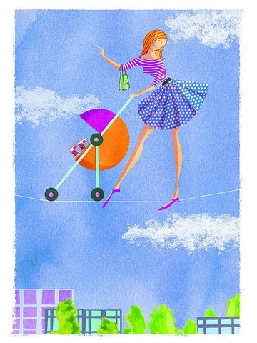 Illustration of mom balancing on rope