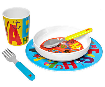 Alphabet five-piece dish set
