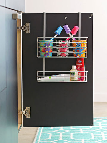 Black door with toothbrushing station