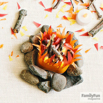 Tissue-paper-and-rock campfire craft