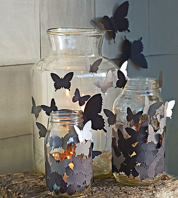 Butterflies on glass jars