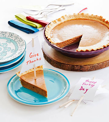 """Pie slice with """"Give Thanks"""" sail"""