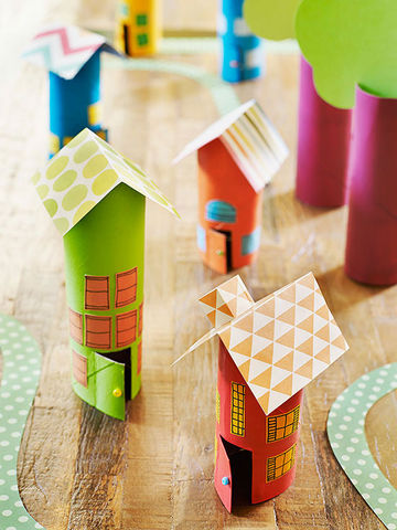 Little colorful cardboard houses