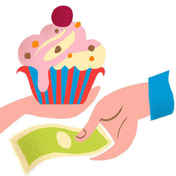 Hand with cupcake