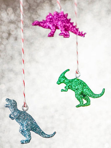 Sparkly dinosaur ornaments